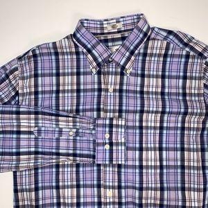 PETER MILLAR Purple Blue Plaid Button Down Shirt L